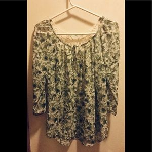 Green & Beige Lace Back Blouse, 3/4 Sleeves